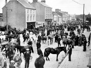 Early 20th Century shot of Buttevant Streetscape on Cahirmee Fare Day